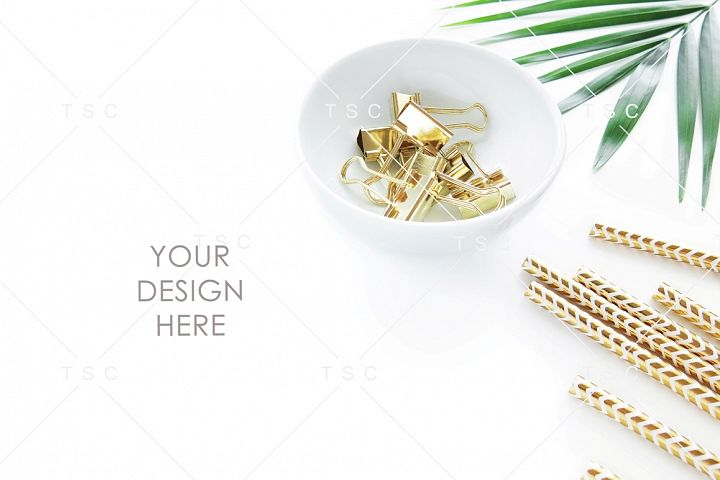 Gold Stationery & Palm Leaf Stock Photo