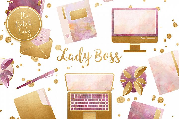 Lady Boss Office Clipart Set