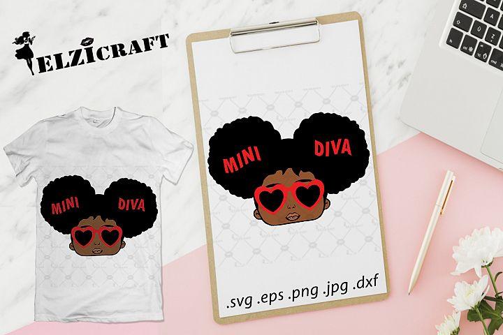 Afro Girl, Mini Diva SVG Cut File