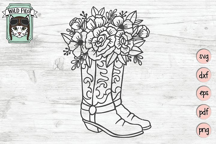 Floral Cowboy Boots svg file, Country, Rodeo, Cowgirl