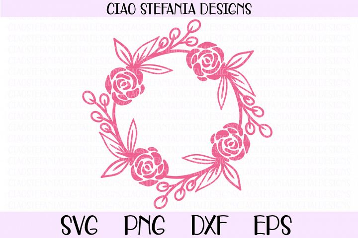 Rose Wreath Flowers Frame SVG PNG DXF EPS Cut File
