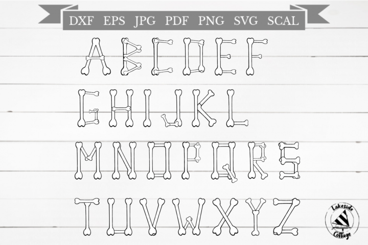 Skeleton Alphabet Halloween Bones SVG Design