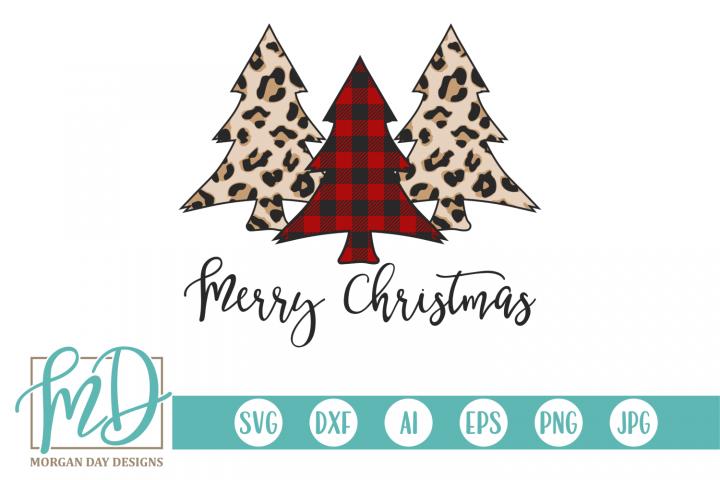 Merry Christmas - Leopard - Buffalo Plaid Christmas Tree SVG