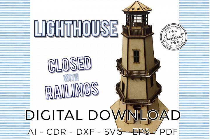LIGHTHOUSE CLOSED W RAILINGS laser cut model 3d Puzzle plans