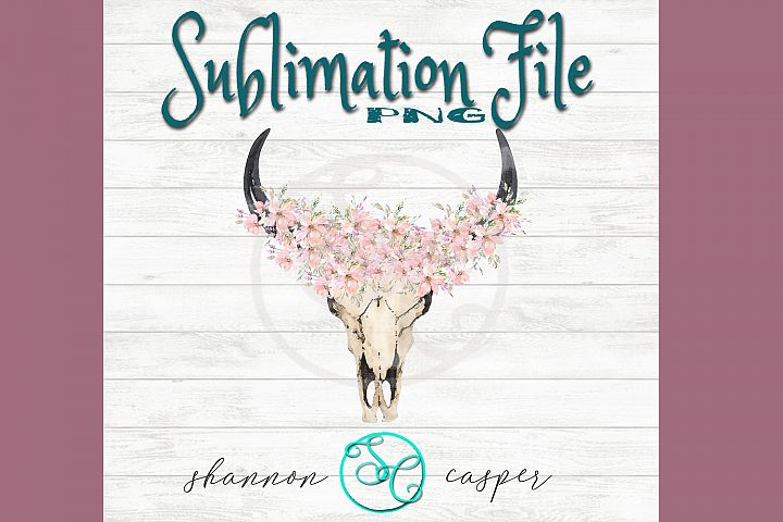 Boho Cow Skull with watercolor flowers| Sublimation File