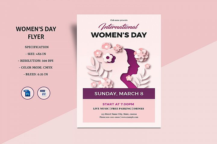 Womens Day Flyer , Ms Word & Photoshop Template