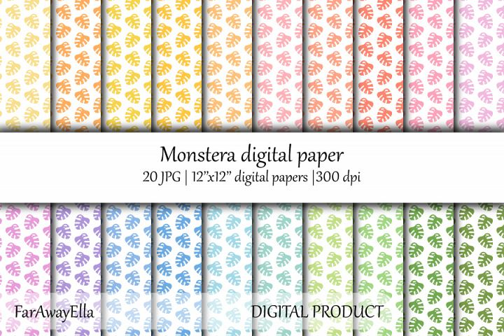 Monstera leaf JPG digital paper | 20 seamless backgrounds