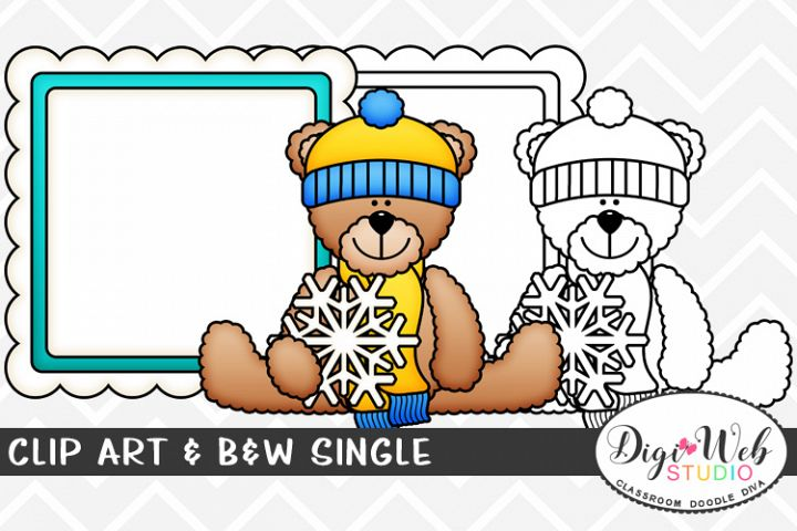 Clip Art & B&W Single - Bear w/ Snowflake & Message Board