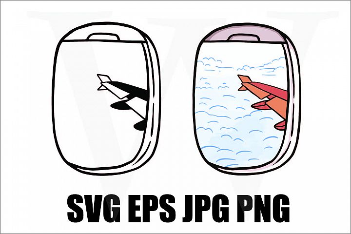 View from Airplane window - SVG EPS JPG PNG