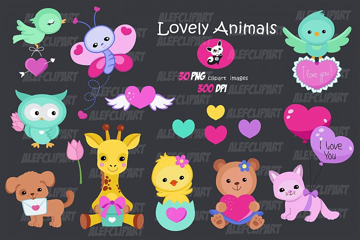 Lovely Animals Valentine Clipart.