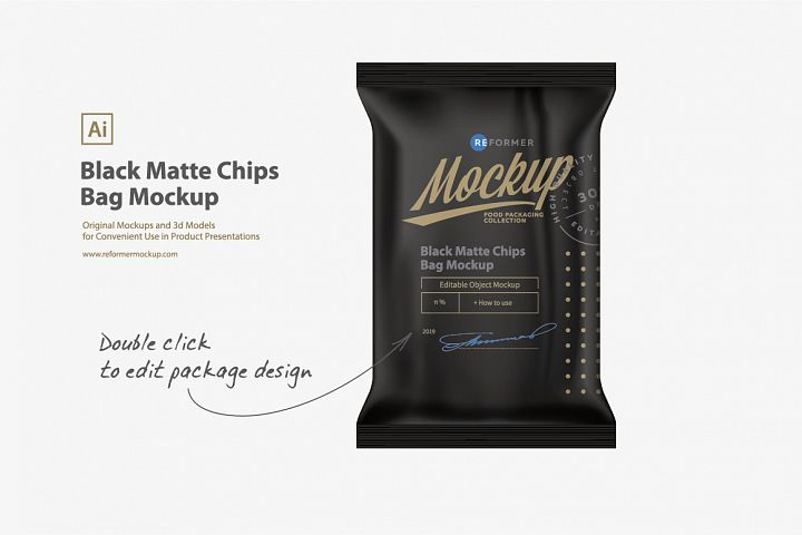 Black Matte Chips Bag Mockup