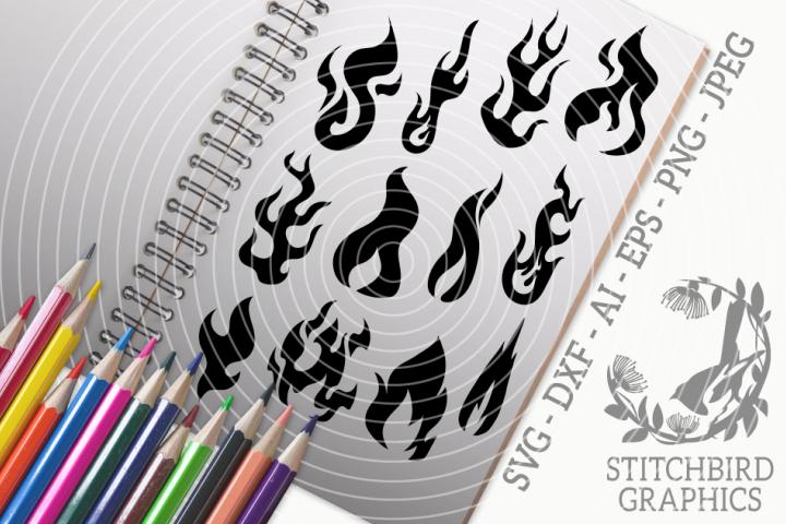 Flames Bundle SVG, Silhouette Studio, Cricut, Eps, Jpeg, Png