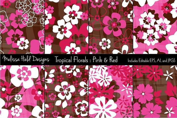 Pink & Red Tropical Flowers