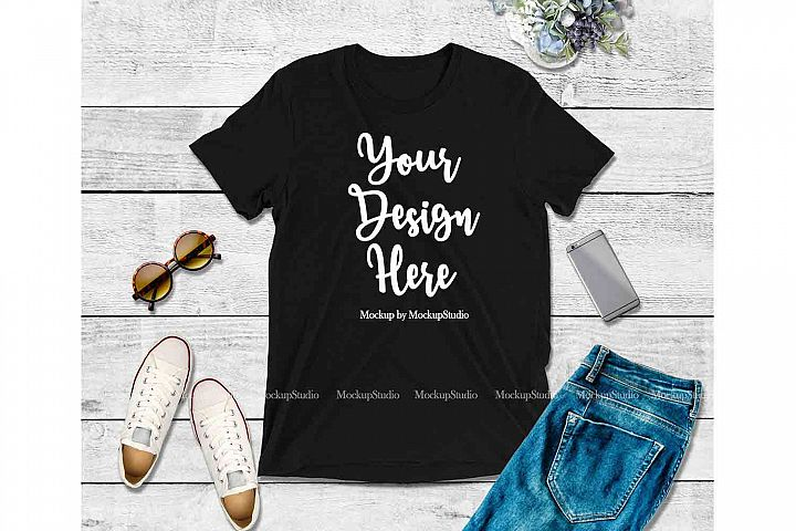 Black Shirt Mock Up, Bella Canvas 3413 Tshirt Mockup Display