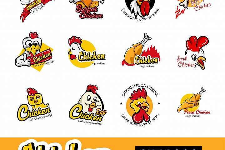 Set Chicken Logo Emblem