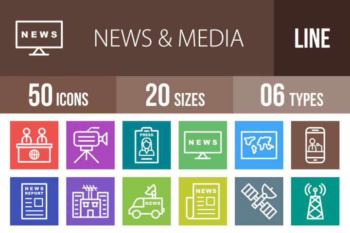 50 News & Media Line Multicolor B/G Icons