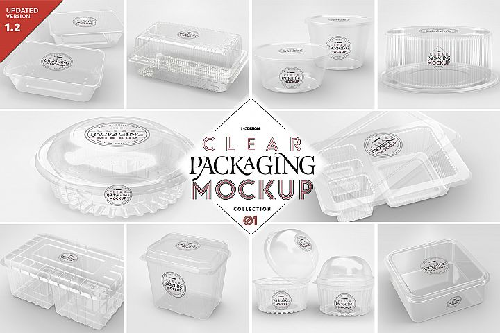 VOL.1 Clear Plastic Containers Packaging Mockup Collection