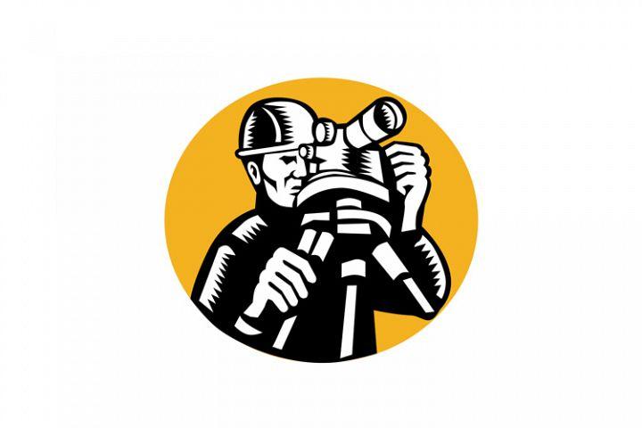 Surveyor Geodetic Engineer Woodcut