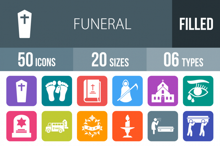 50 Funeral Filled Round Corner Icons