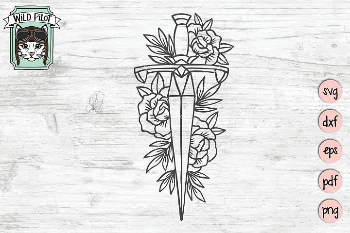 Sword svg file, Flower Sword cut file, Goth, Floral
