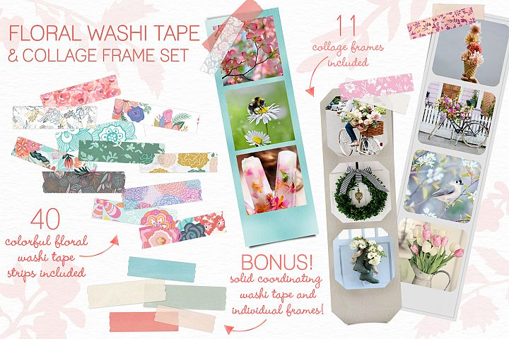Floral Washi Tape and Collage Frames