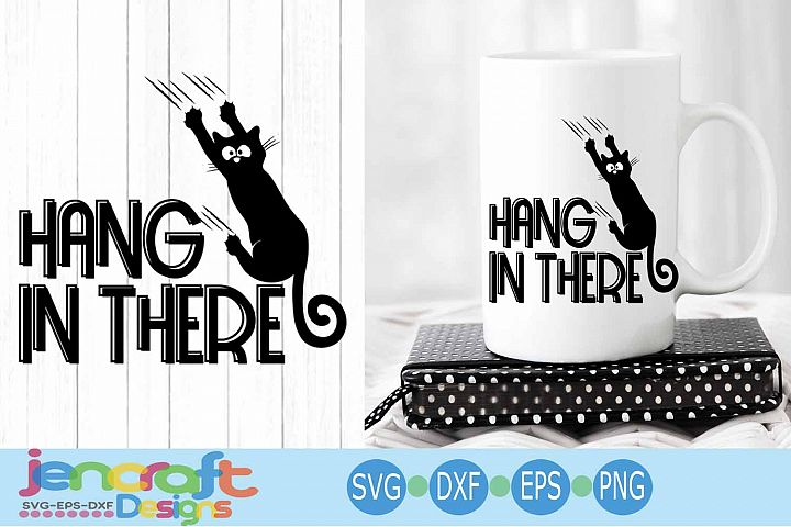 Black Cat svg, Hanging cat svg Funny Kitty -Hang in there