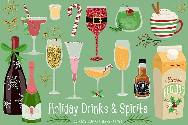 Holiday Drinks & Spirits Clip Art Collection