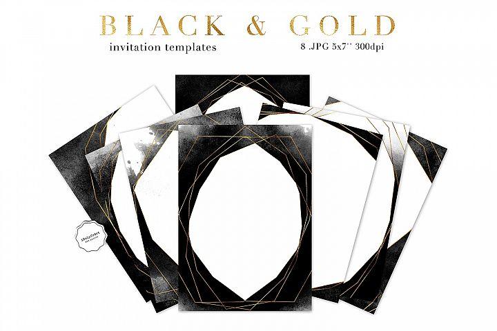 Black Watercolor and Gold Invitation Template