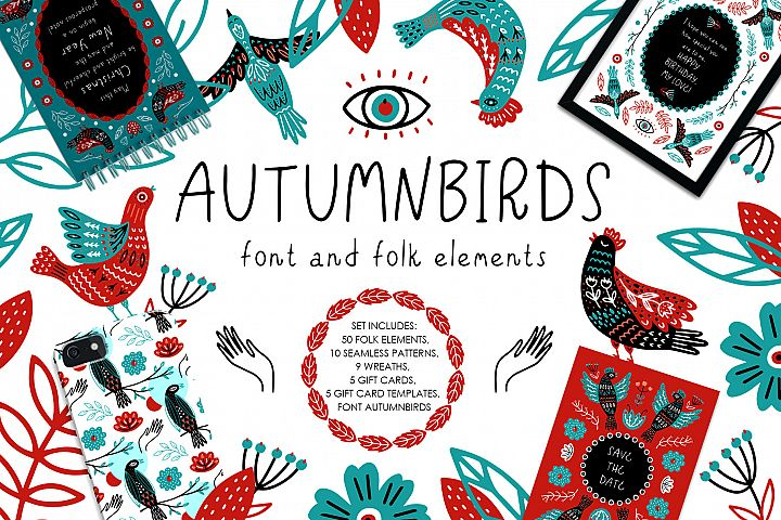 Autumnbirds - font and folk element