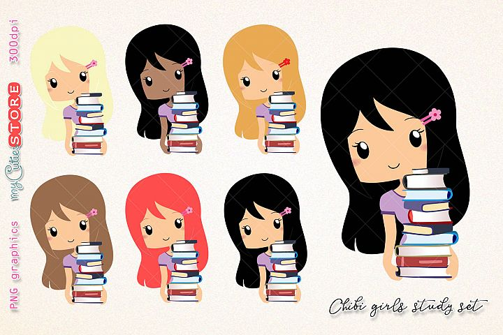 Study chibi girl clipart, woman going library clip art, png graphics set great for digital planning, stickers, cards, invitations.