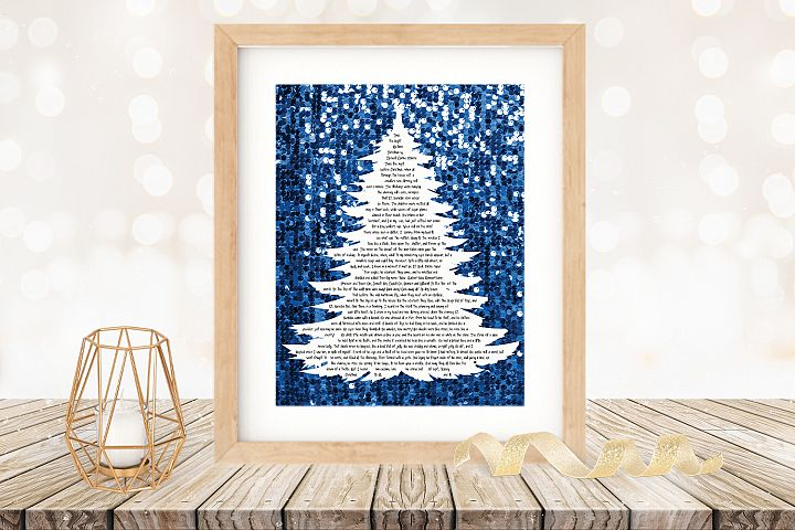 Twas the Night Before Christmas Printable Tree Blue