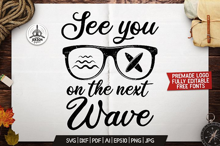 Summer Adventure Badge Vintage Surfing Retro Logo SVG File