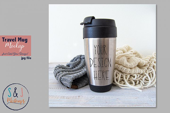 Travel mug mockup photo, mockup for clipart