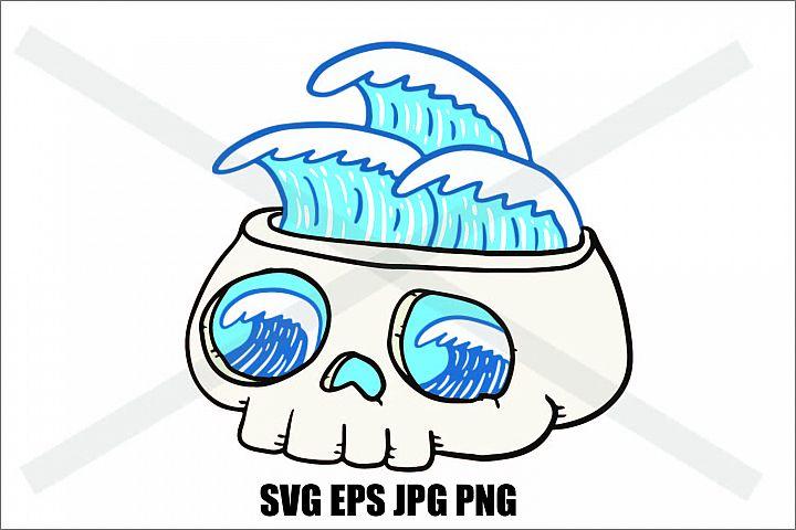 Skull with Wave- SVG EPS JPG