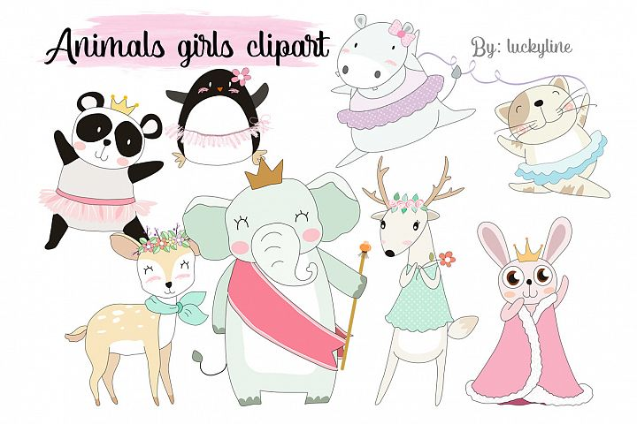 Animals girl clipart Instant Download PNG file - 300 dpi