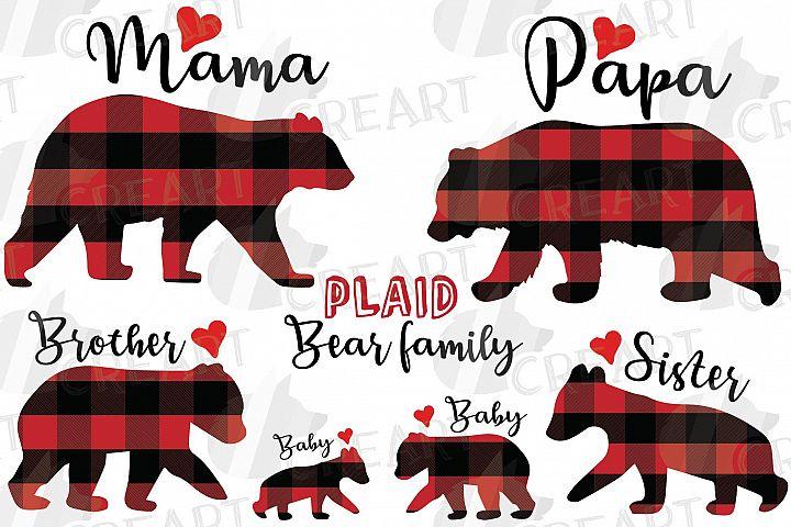Bear family clipart. Plaid mama bear and family match shirt