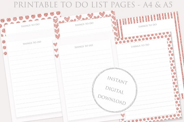 Printable TO DO LIST pages set - Planner Inserts - instant