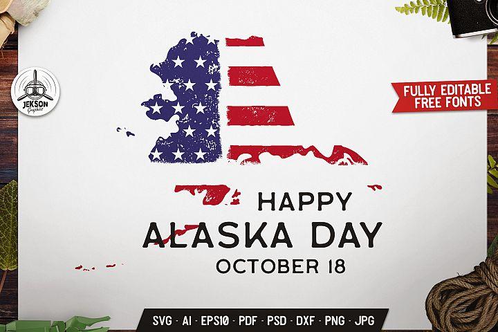 Alaska USA State Badge, Vector US Retro Graphics SVG File