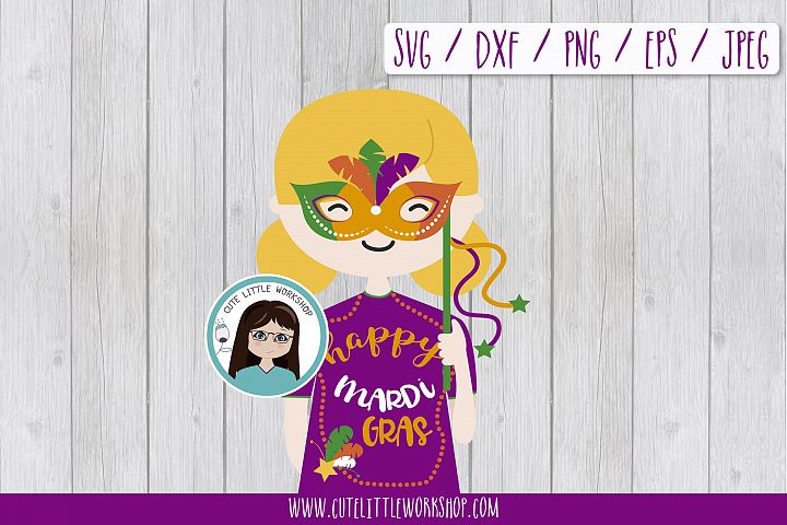 Mardi Gras Girl charactersvg, dxf, png, eps