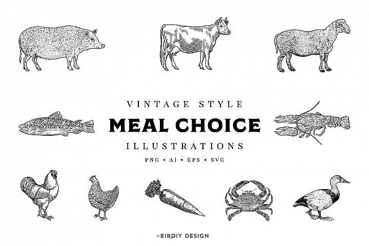 Vintage Meal Choice Illustrations