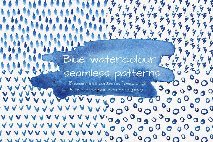 Blue watercolour seamless patterns set.