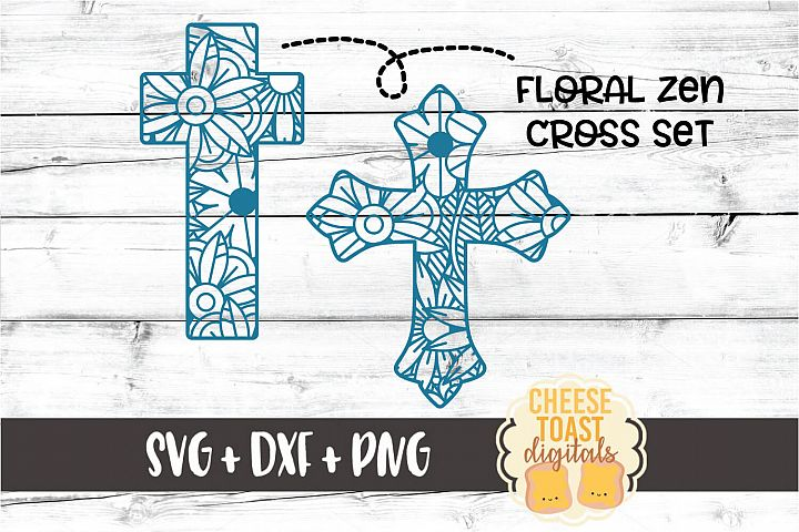 Cross Floral Zen Set - 2 Designs SVG PNG DXF Cut Files