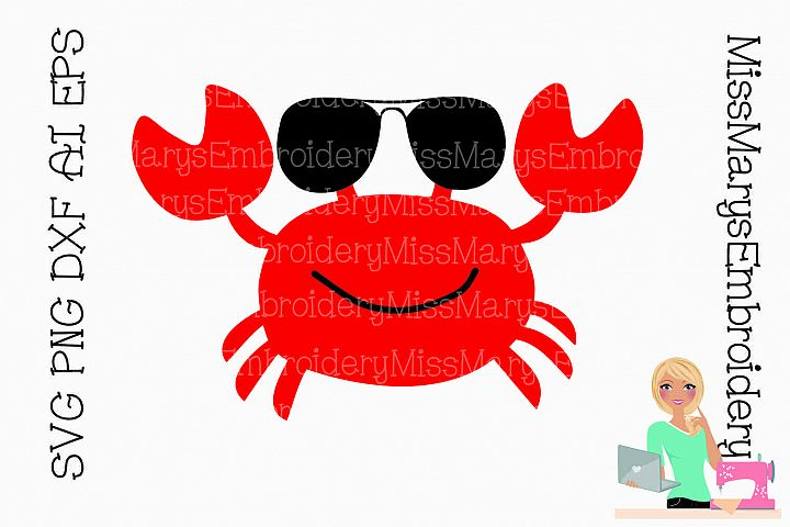 Sunglasses Crab SVG Cutting File PNG DXF AI EPS