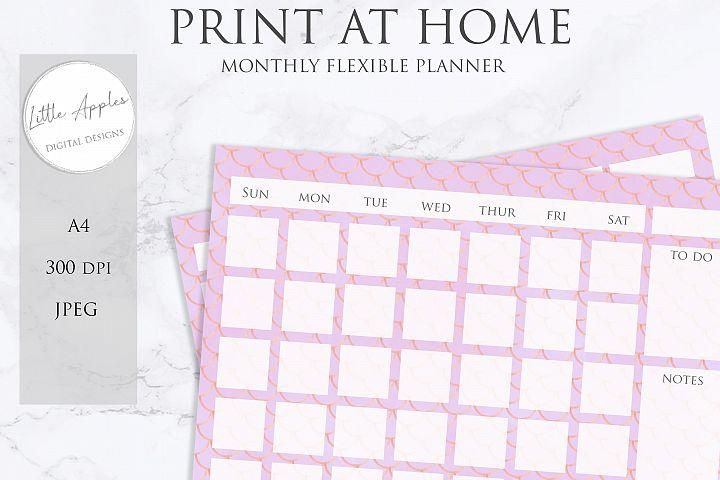Printable Flexible Monthly Wall Planner Calendar. mermaid