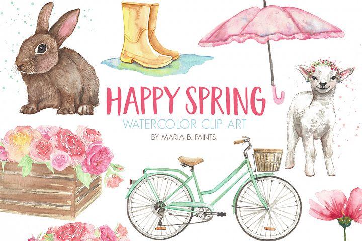 Spring, Easter Watercolor Clip Art Set