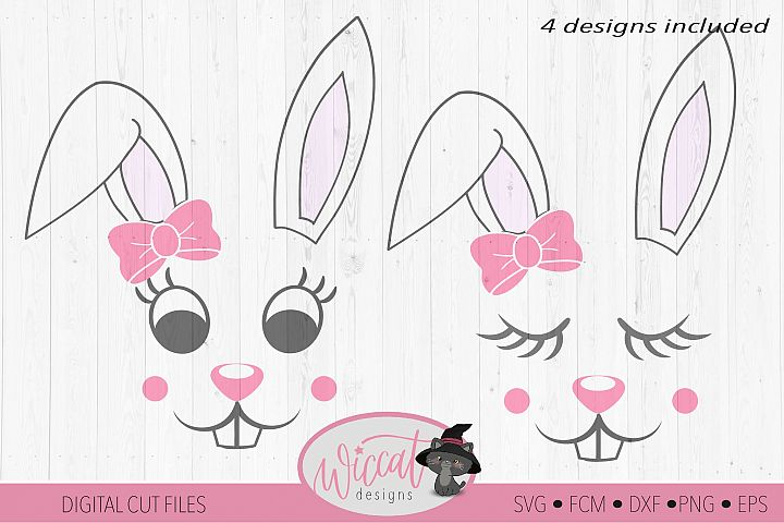 Easter Bunny face svg, Girl bunny face svg, cut file