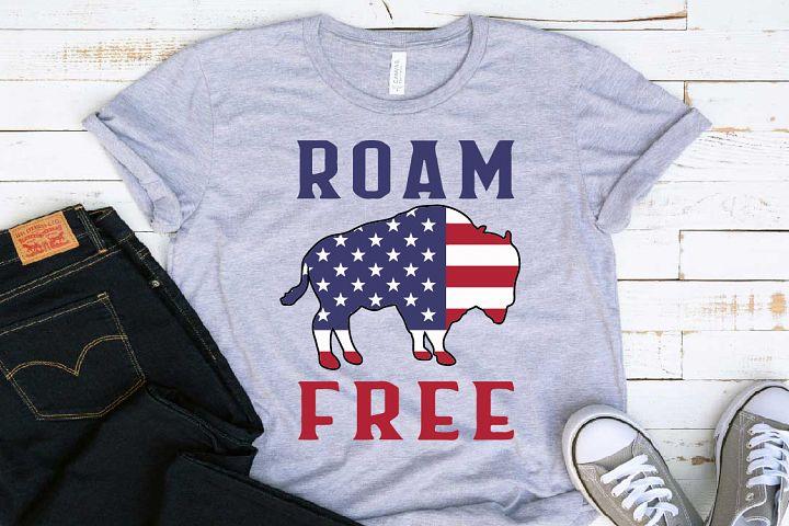 Roam Free Bison Flag SVG american flag SVG USA 1406S