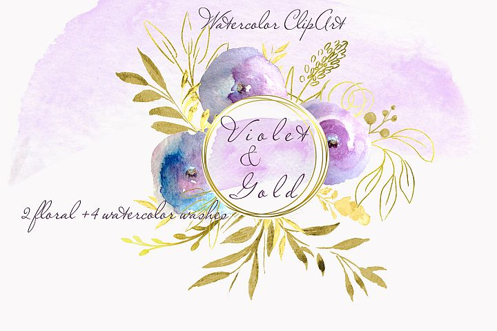 Watercolor Violet Rose clipart floral invitation wall decor