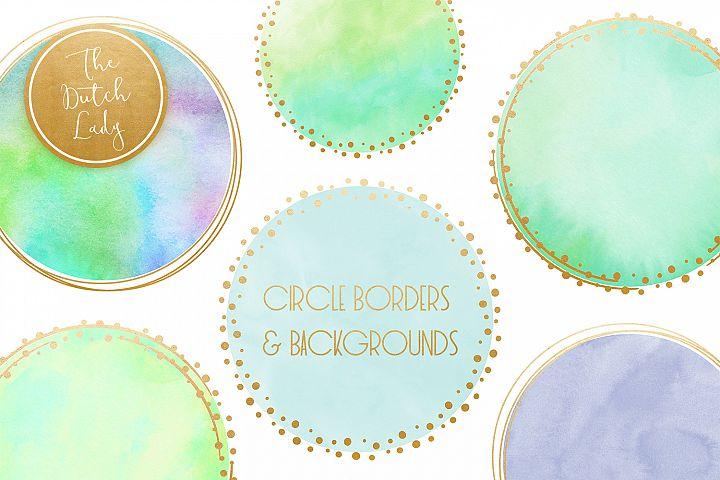 Watercolor Logo Circle & Border Clipart Set in Aqua