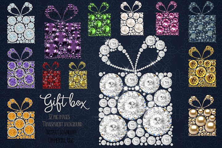 32 Diamond Pearl Rhinestone Jewelry Gift Boxs Clip Arts PNG